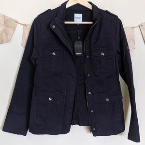 NWT Kensie Blue Twill Utility Jacket With Pockets